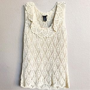 Exquisite Theory Ivory Crochet Tank Top